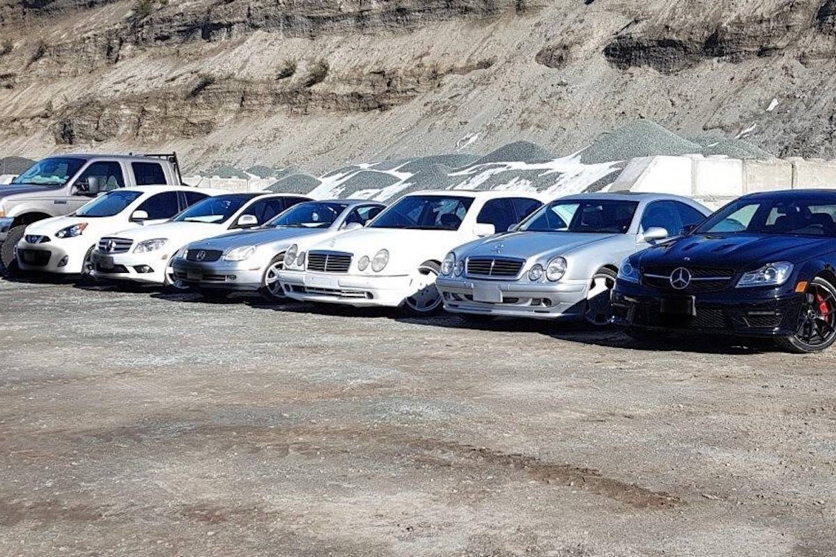 Seven of the nine vehicles seized by Central Saanich Police, during a months-long investigation. (Central Saanich Police Submission)